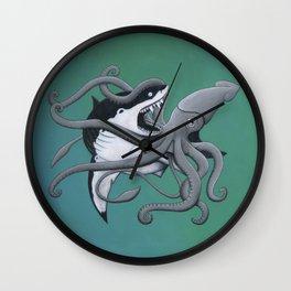 megalodon vs. giant squid Wall Clock