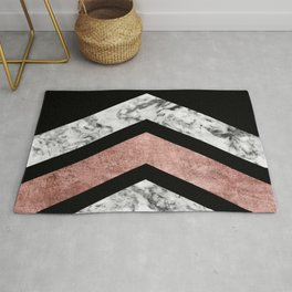 Modern rose gold black white geometric marble Rug