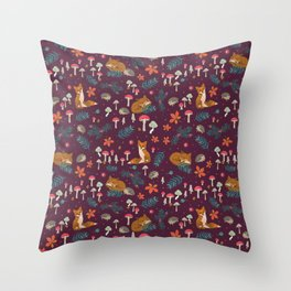 Fox and Hedgehog in Toadstool Wood In Red Throw Pillow