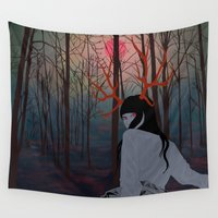 antler Wall Tapestries featuring Antler Mystic Girl by ArtRonin