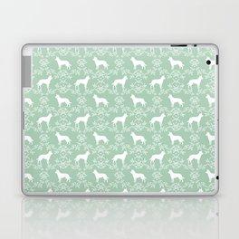 Australian Kelpie dog pattern silhouette mint florals minimal dog breed art gifts Laptop & iPad Skin