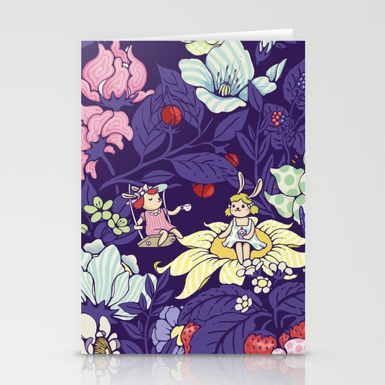 Garden party - blueberry tea version Stationery Cards
