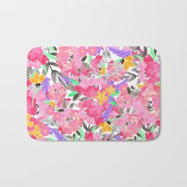 Hand painted pink lavender watercolor floral Bath Mat
