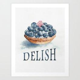 Blueberry Tart   Food Art Art Print