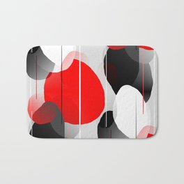 Modern Anxiety Abstract - Red, Black, Gray Bath Mat