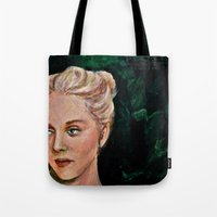 sylvia plath Tote Bags featuring Sylvia by alison dillon art