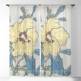 Hibiscus by Kōno Bairei Sheer Curtain