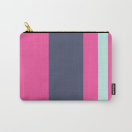 An amazing batter of Independence, Magenta (Crayola), Bright Light Blue and Pale Turquoise vertical stripes. Carry-All Pouch