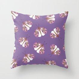 Floral Moth Throw Pillow