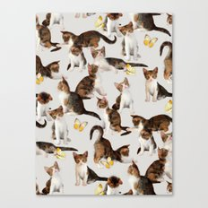 Kittens and Butterflies - a painted pattern Canvas Print