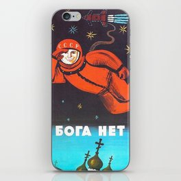 Retro 1960's USSR anti-religious propaganda poster of Cosmonaut Yuri Gagarin in Space iPhone Skin