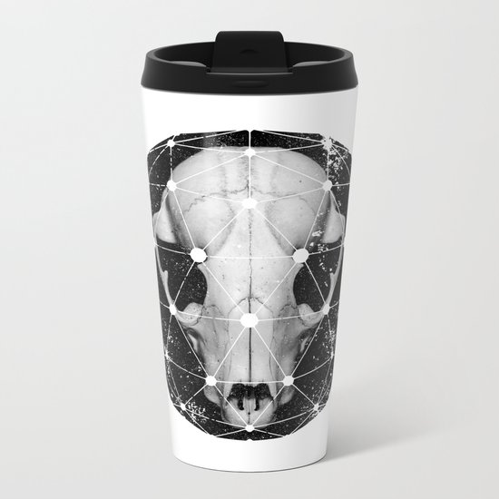 geometric raccoon skull Metal Travel Mug
