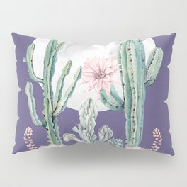 Desert Cactus Full Moon Succulent Garden on Purple Pillow Sham