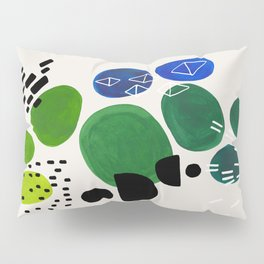 Fun Abstract Minimalist Mid Century Modern Colorful Shapes Lime Green Blue Watercolor Bubbles Pillow Sham