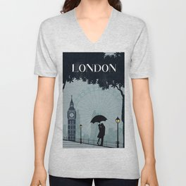 London vintage poster travel Unisex V-Neck