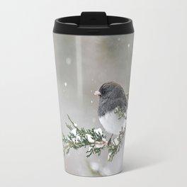 Snowbird on a Snowy Branch (Junco) Travel Mug