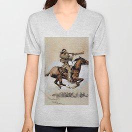 "Frederic Remington ""Buffalo Hunter Spitting Bullets"" Western Art Unisex V-Neck"
