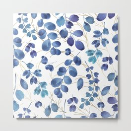 Botanical modern gold navy blue teal watercolor foliage Metal Print