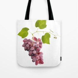 Ripe red grape fruits with leaves isolated on white.Digital painting. Tote Bag
