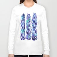 indigo Long Sleeve T-shirts featuring Indigo Seaweed by Cat Coquillette