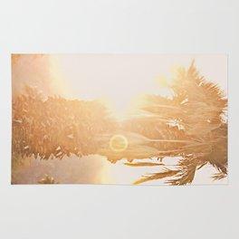 California Fine Art Print Yellow, Peach, Cream La Quinta Palm Tree Photograph - Desert Sunset  Rug
