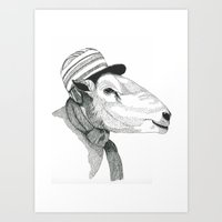 Knitting sheep's friend Art Print