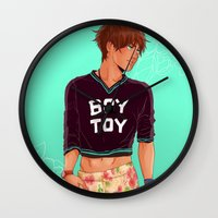 snk Wall Clocks featuring SNK: Eren Jaeger Crop Top by Yuki119