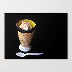 Rat in Ice Cream dish Canvas Print