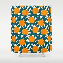 Art Deco Minimalist Orange Grove Shower Curtain