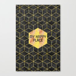 GRAPHIC ART GOLD My happy place | blac Canvas Print