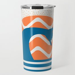 Hang Loose Wave // Sun Surfer Shaka Beach Retro Graphic Design Horizontal Daze Waves Travel Mug