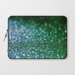 Aqua Glitter effect- Sparkling print in green and blue Laptop Sleeve