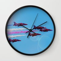 aviation Wall Clocks featuring ARROWS IN FLIGHT by Catspaws