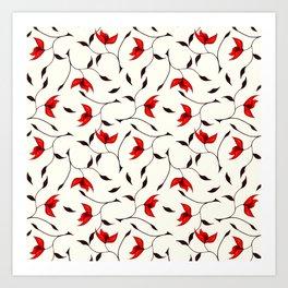 Strange Red Flowers Pattern Art Print