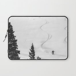 Backcountry Skier // Fresh Powder Snow Mountain Ski Landscape Black and White Photography Vibes Laptop Sleeve