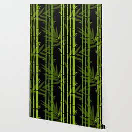 Green Bamboo Shoots and Leaves Pattern on Black Wallpaper