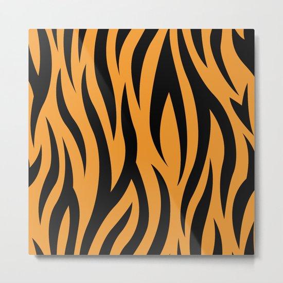 Tiger Stripes Pattern - Orange, Black Metal Print