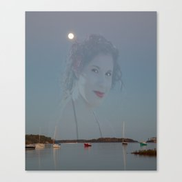 haunting image of girl on twilight tranquil Canadian bay  Canvas Print