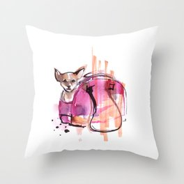 Dog in the pink bag Throw Pillow
