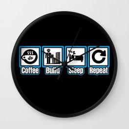 Coffee Build Sleep Repeat Wall Clock