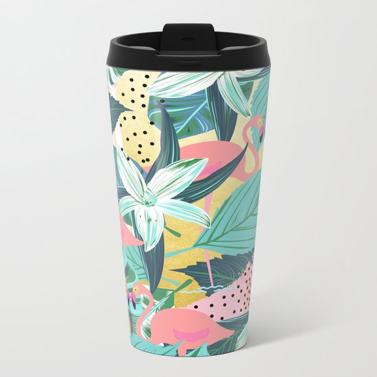 Flamingo Tropical #society6 #decor #buyart Metal Travel Mug