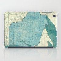 wisconsin iPad Cases featuring Wisconsin State Map Blue Vintage by City Art Posters