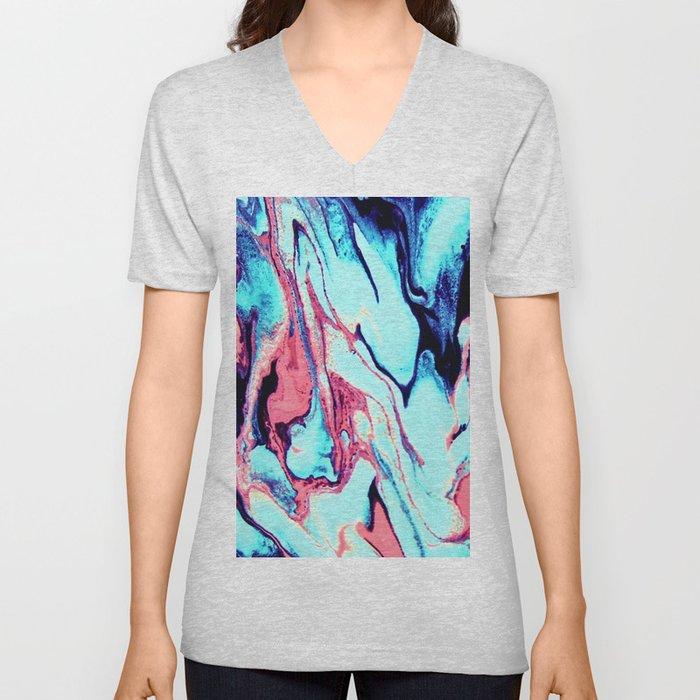 Turquoise Blue Rose Marble Background Unisex V-Neck