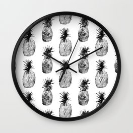 Black-and-white pineapples Wall Clock