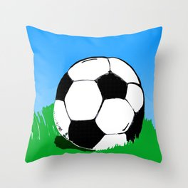 Soccer Ball In Grass Printmaking Art Throw Pillow