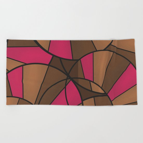 Brown pink pattern abstract . Beach Towel