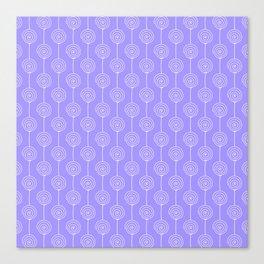 Hand painted geometrical violet  white swirls stripes pattern Canvas Print