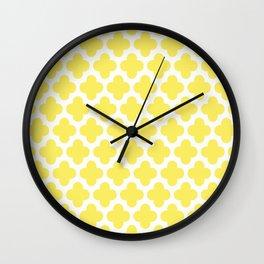 CLOVER QUATREFOIL LEMON Wall Clock