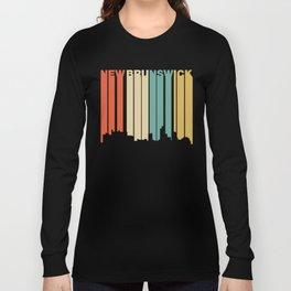 Retro 1970's Style New Brunswick New Jersey Skyline Long Sleeve T-shirt