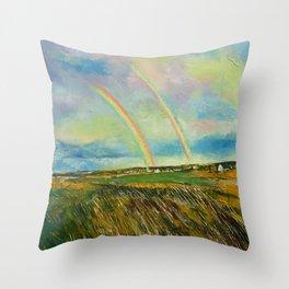 Scotland Double Rainbow Throw Pillow